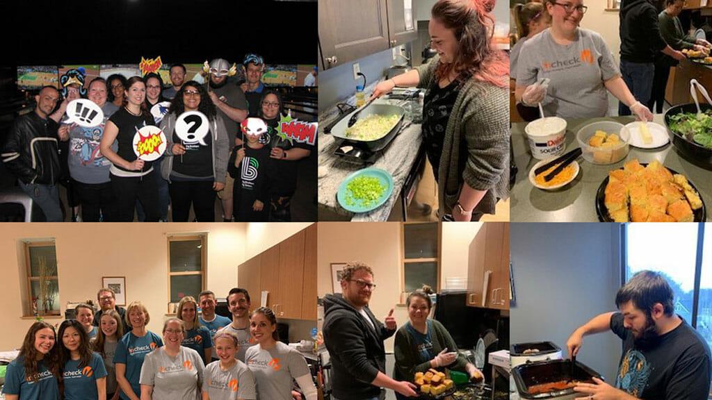 various images of InCheck Volunteer Committee members participating in volunteer activities